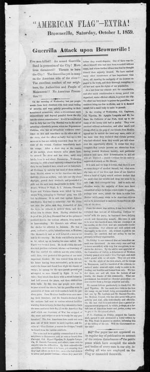 Primary view of object titled 'American Flag-- Extra! (Brownsville, Tex.), Ed. 1, Saturday, October 1, 1859'.