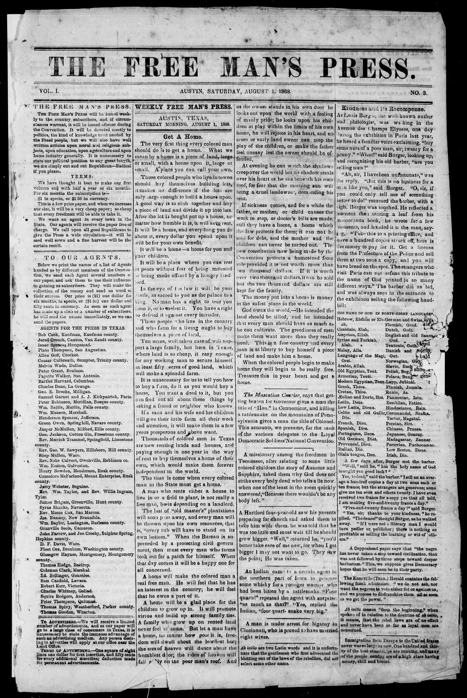 The Free Man's Press (Austin, Tex.), Vol. 1, No. 3, Ed. 1, Saturday, August 1, 1868                                                                                                      [Sequence #]: 1 of 4