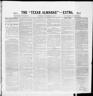 "Primary view of object titled 'The Texas Almanac -- ""Extra."" (Austin, Tex.), Vol. 1, No. 14, Ed. 1, Tuesday, November 11, 1862'."