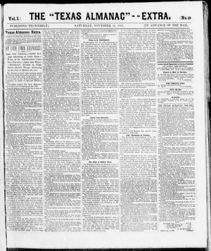 "Primary view of object titled 'The Texas Almanac -- ""Extra."" (Austin, Tex.), Vol. 1, No. 19, Ed. 1, Saturday, November 22, 1862'."