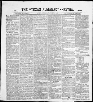 "Primary view of object titled 'The Texas Almanac -- ""Extra."" (Austin, Tex.), Vol. 1, No. 38, Ed. 1, Tuesday, January 6, 1863'."