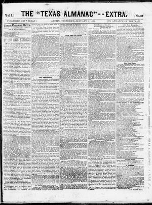 "Primary view of object titled 'The Texas Almanac -- ""Extra."" (Austin, Tex.), Vol. 1, No. 39, Ed. 1, Thursday, January 8, 1863'."