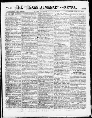 "Primary view of object titled 'The Texas Almanac -- ""Extra."" (Austin, Tex.), Vol. 1, No. 48, Ed. 1, Thursday, January 29, 1863'."