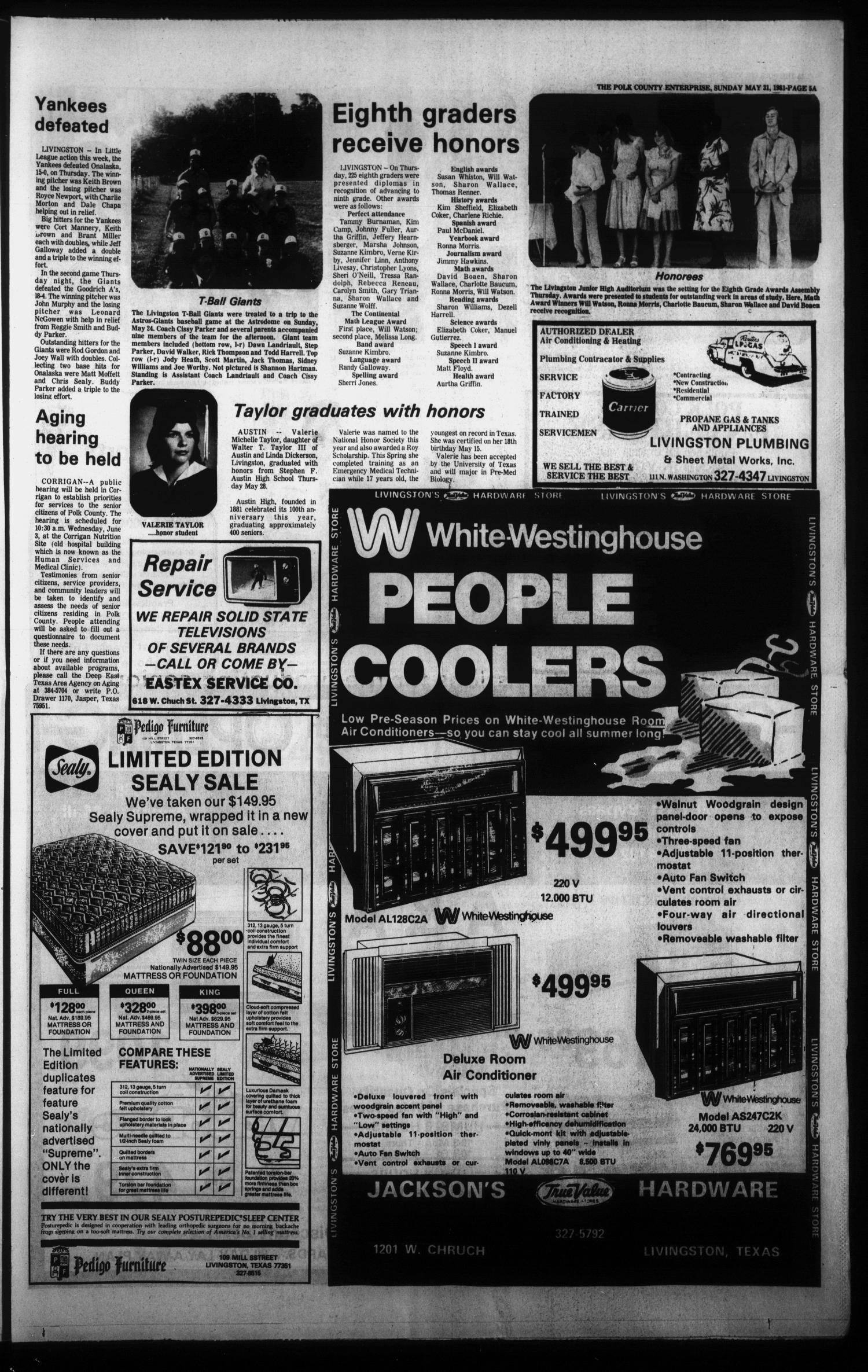 Polk County Enterprise (Livingston, Tex.), Vol. 99, No. 44, Ed. 1 Sunday, May 31, 1981                                                                                                      [Sequence #]: 5 of 22