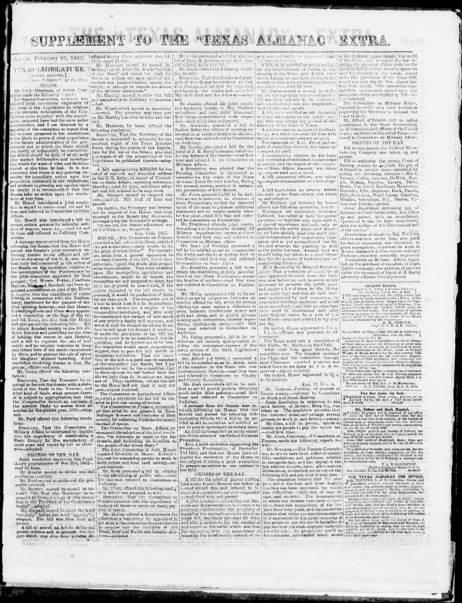 "Supplement to The ""Texas Almanac""-- Extra. (Austin, Tex.), Monday, February 23, 1863                                                                                                      [Sequence #]: 1 of 1"