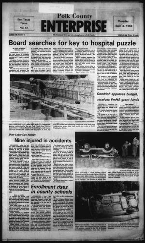Primary view of object titled 'Polk County Enterprise (Livingston, Tex.), Vol. 104, No. 71, Ed. 1 Thursday, September 4, 1986'.