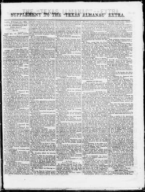 "Supplement to The ""Texas Almanac""-- Extra. (Austin, Tex.), Wednesday, February 25, 1863"