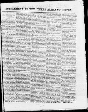 "Primary view of object titled 'Supplement to The ""Texas Almanac""-- Extra. (Austin, Tex.),  Monday, March 2, 1863'."