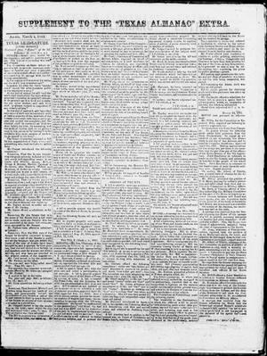"Primary view of object titled 'Supplement to The ""Texas Almanac""-- Extra. (Austin, Tex.),  Wednesday, March 4, 1863'."