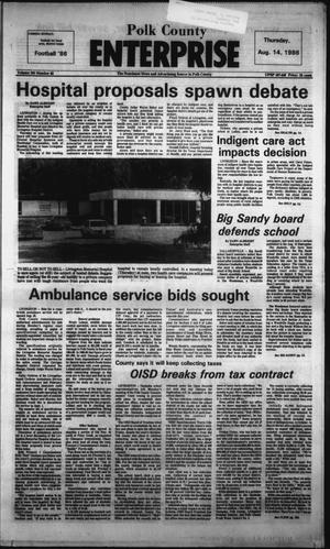 Primary view of object titled 'Polk County Enterprise (Livingston, Tex.), Vol. 104, No. 65, Ed. 1 Thursday, August 14, 1986'.