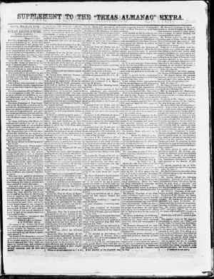 "Primary view of object titled 'Supplement to The ""Texas Almanac""-- Extra. (Austin, Tex.), Wednesday, March 18, 1863'."