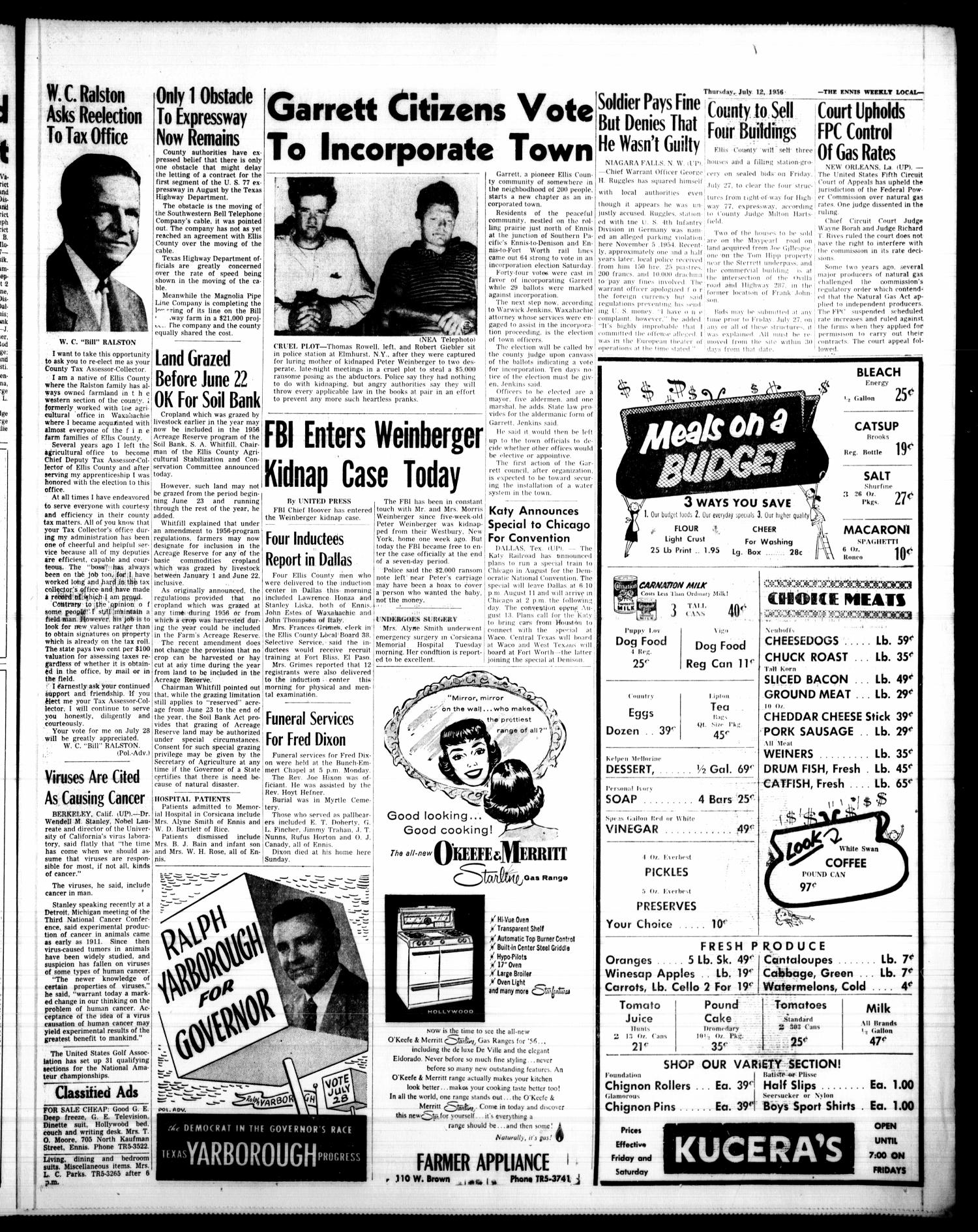 The Ennis Weekly Local (Ennis, Tex.), Vol. 31, No. 28, Ed. 1 Thursday, July 12, 1956                                                                                                      [Sequence #]: 3 of 6
