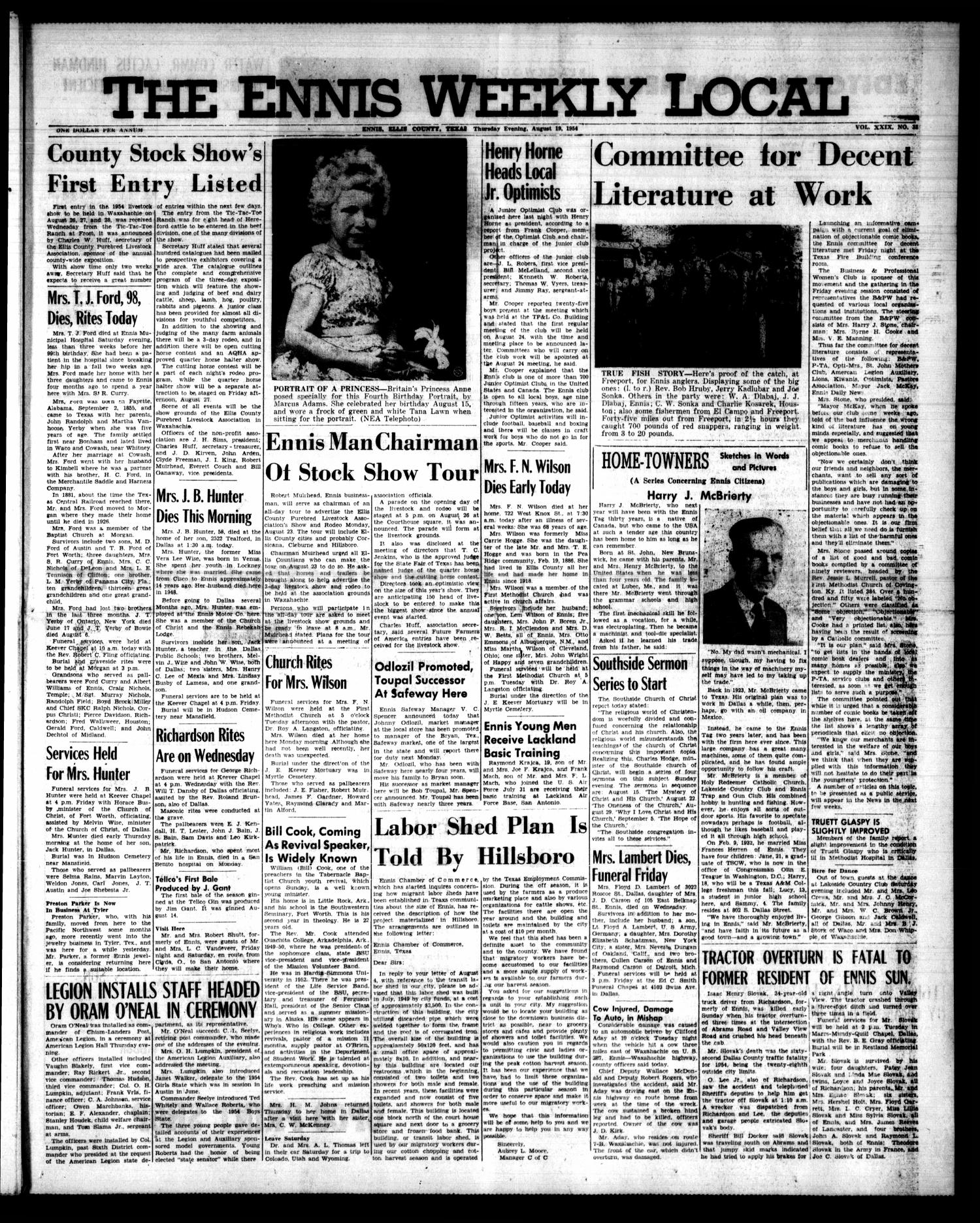 The Ennis Weekly Local (Ennis, Tex.), Vol. 29, No. 33, Ed. 1 Thursday, August 19, 1954                                                                                                      [Sequence #]: 1 of 6