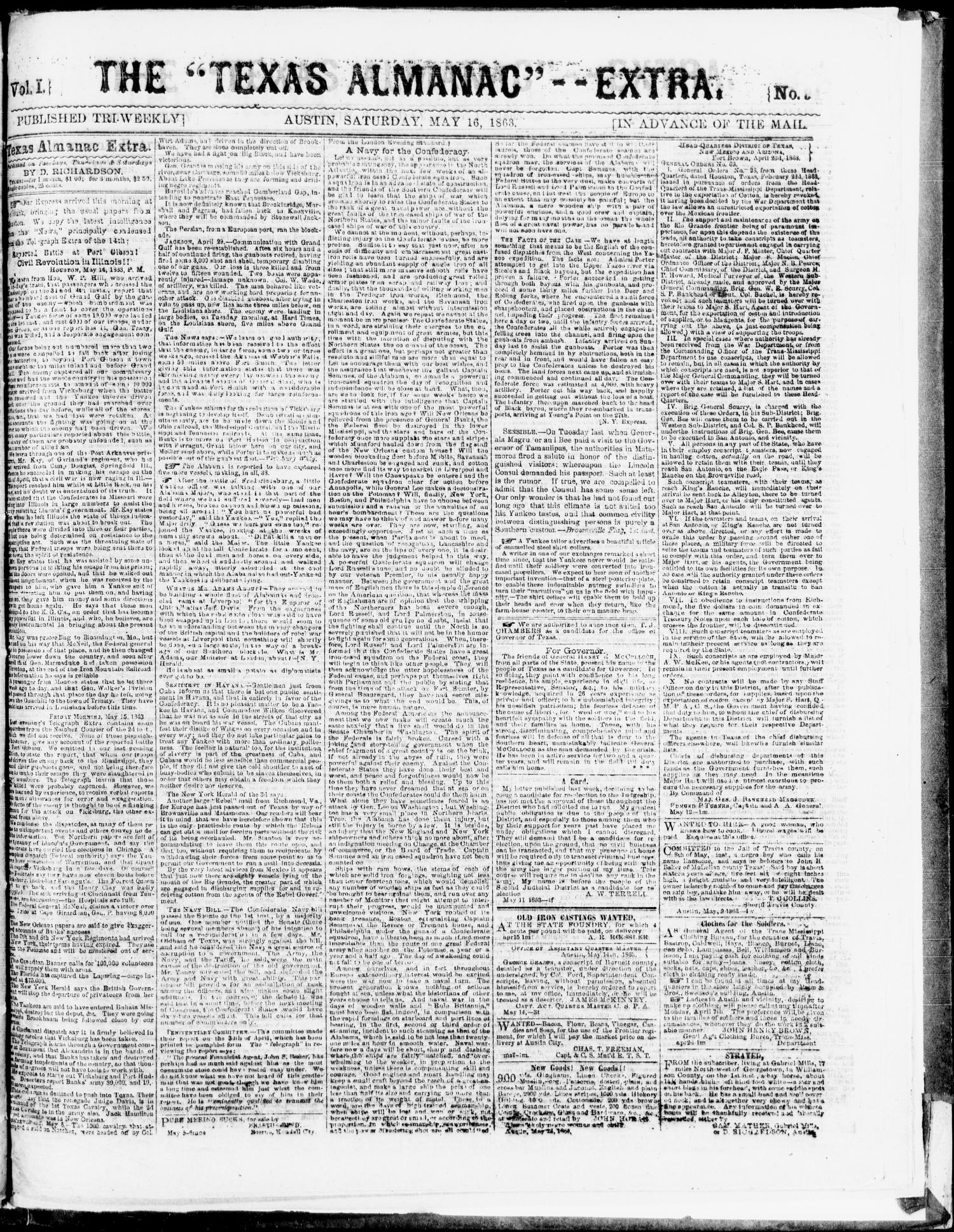 "The Texas Almanac -- ""Extra."" (Austin, Tex.), Vol. 1, No. 94, Ed. 1, Saturday, May 16, 1863                                                                                                      [Sequence #]: 1 of 1"