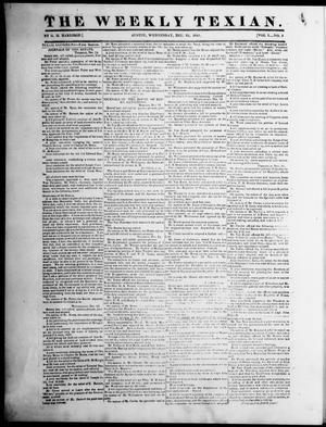 Primary view of object titled 'The Weekly Texian (Austin, Tex.), Vol. 1, No. 5, Ed. 1, Wednesday, December 22, 1841'.