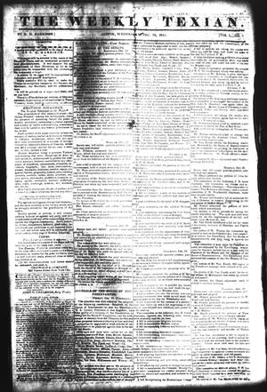 The Weekly Texian (Austin, Tex.), Vol. 1, No. 6, Ed. 1, Wednesday, December 29, 1841