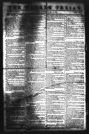 Primary view of object titled 'The Weekly Texian (Austin, Tex.), Vol. 1, No. 9, Ed. 1, Wednesday, January 19, 1842'.