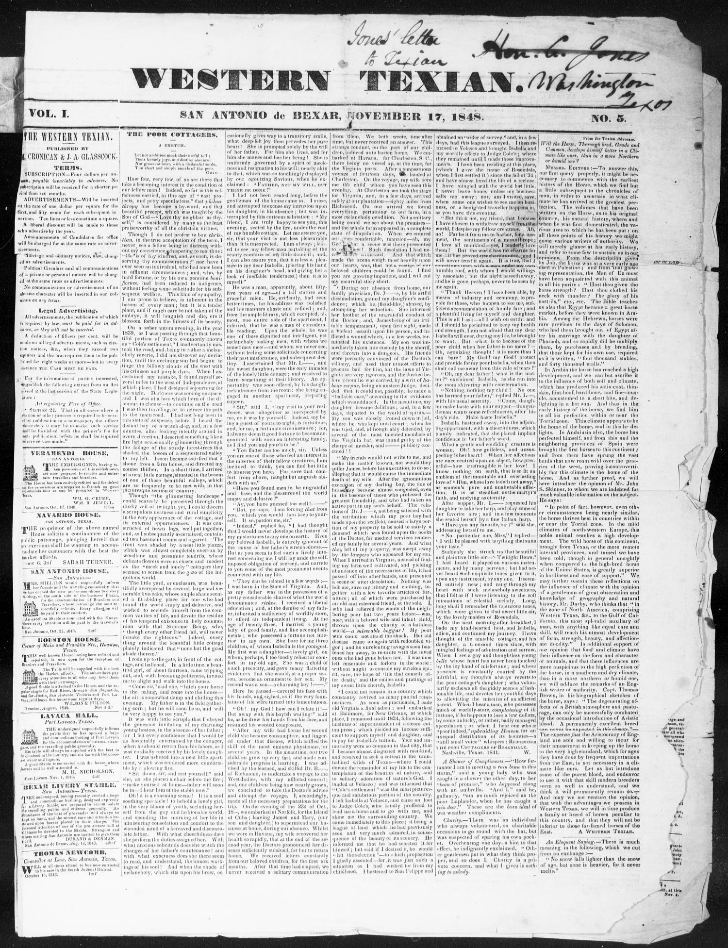 The Western Texan (San Antonio, Tex.), Vol. 1, No. 5, Ed. 1, Friday, November 17, 1848                                                                                                      [Sequence #]: 1 of 4