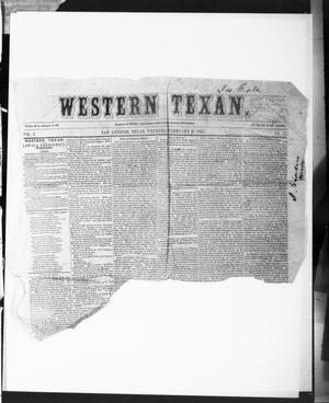 Primary view of object titled 'The Western Texan (San Antonio, Tex.), Vol. 3, No. 17, Ed. 1, Thursday, February 6, 1851'.