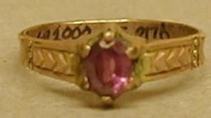Primary view of object titled '[Ring with an amethyst stone in the center]'.