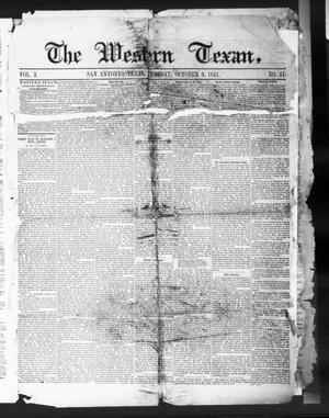 Primary view of object titled 'The Western Texan (San Antonio, Tex.), Vol. 3, No. 51, Ed. 1, Thursday, October 9, 1851'.