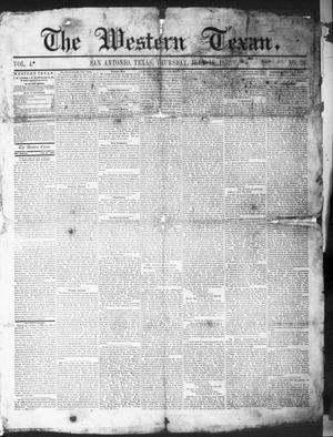 Primary view of The Western Texan (San Antonio, Tex.), Vol. 4, No. 39, Ed. 1, Thursday, July 15, 1852