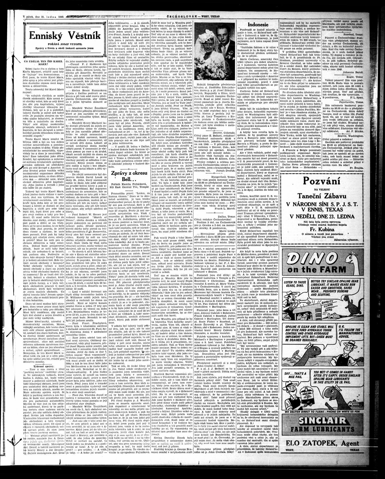 Čechoslovák and Westske Noviny West Tex Vol 38 No 03 Ed 1