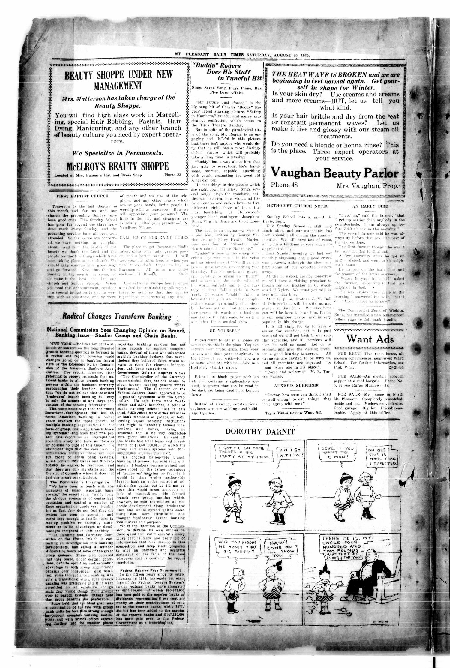 Mount Pleasant Daily Times (Mount Pleasant, Tex.), Vol. 12, No. 139, Ed. 1 Saturday, August 30, 1930                                                                                                      [Sequence #]: 4 of 4