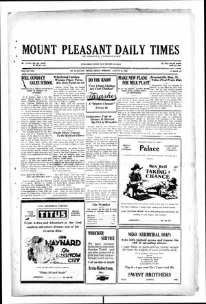 Primary view of object titled 'Mount Pleasant Daily Times (Mount Pleasant, Tex.), Vol. 10, No. 142, Ed. 1 Friday, August 23, 1929'.