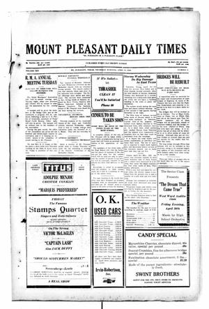 Primary view of object titled 'Mount Pleasant Daily Times (Mount Pleasant, Tex.), Vol. 10, No. 41, Ed. 1 Thursday, April 25, 1929'.