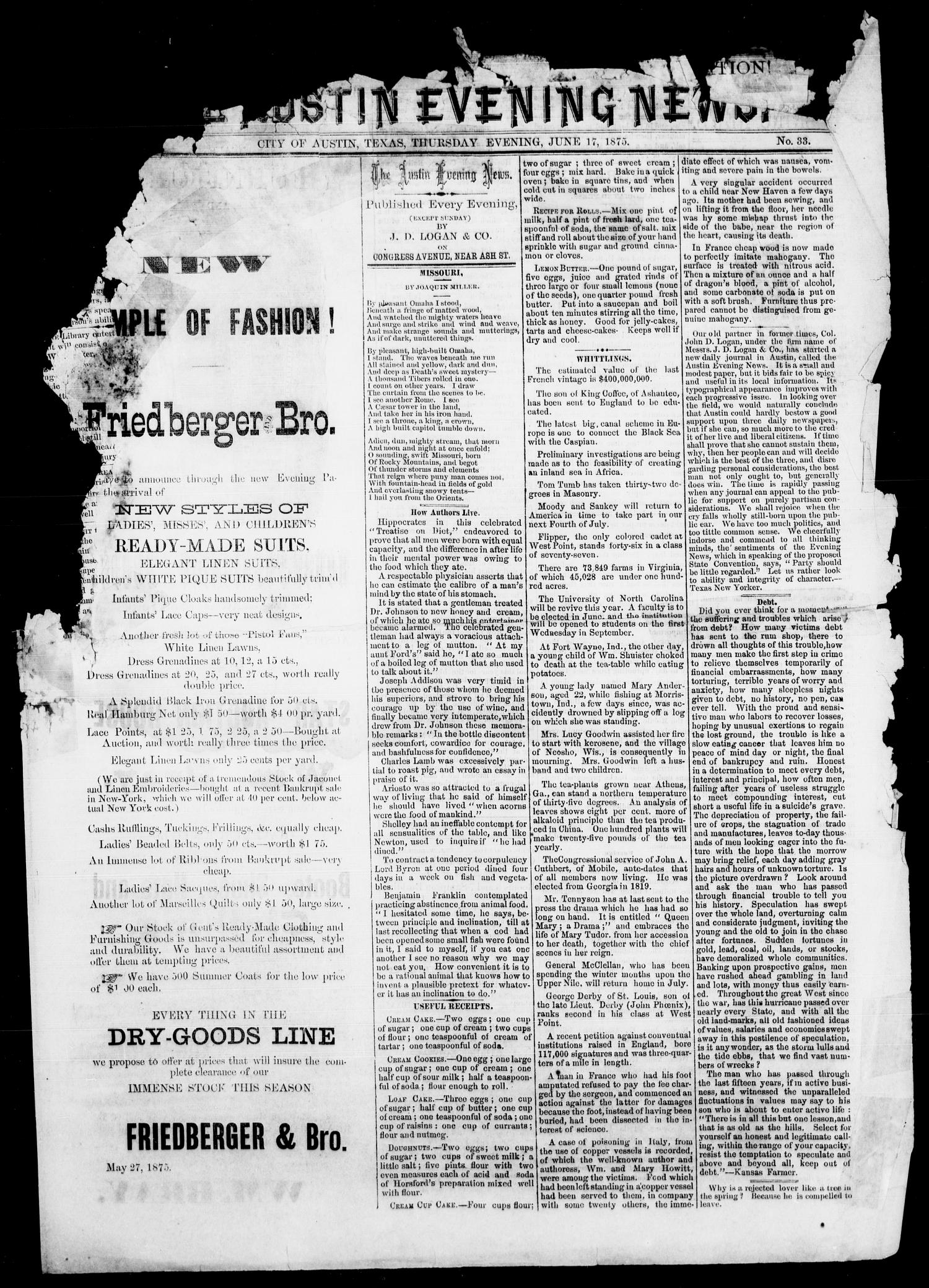 The Austin Evening News (Austin, Tex.), Vol. 1, No. 33, Ed. 1, Thursday, June 17, 1875                                                                                                      [Sequence #]: 1 of 4