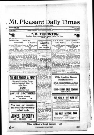 Primary view of object titled 'Mt. Pleasant Daily Times (Mount Pleasant, Tex.), Vol. 8, No. 19, Ed. 1 Monday, March 29, 1926'.