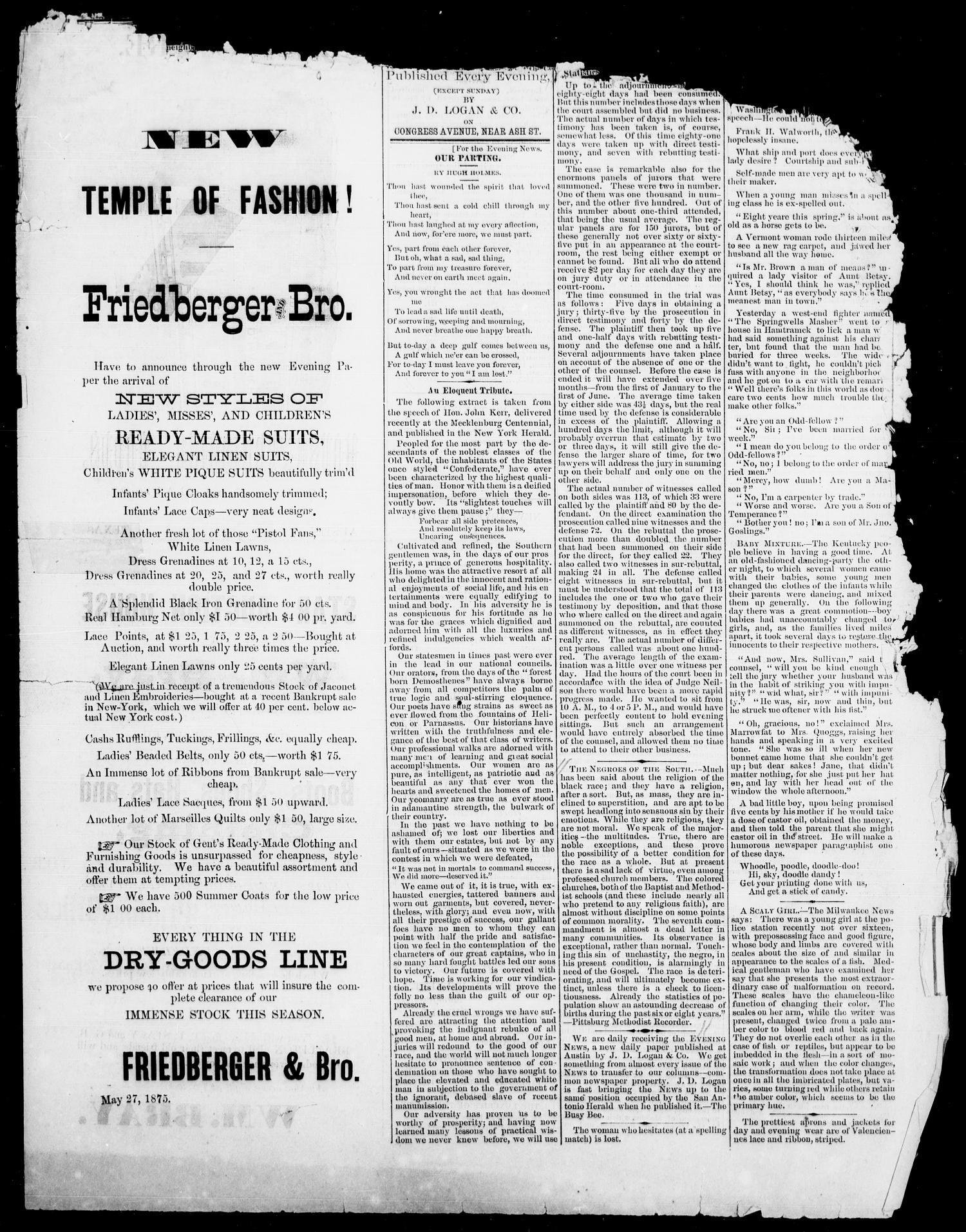 The Austin Evening News (Austin, Tex.), Vol. 1, No. 20, Ed. 1, Friday, June 2, 1875                                                                                                      [Sequence #]: 1 of 4