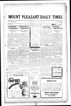 Primary view of object titled 'Mount Pleasant Daily Times (Mount Pleasant, Tex.), Vol. 10, No. 231, Ed. 1 Monday, December 9, 1929'.