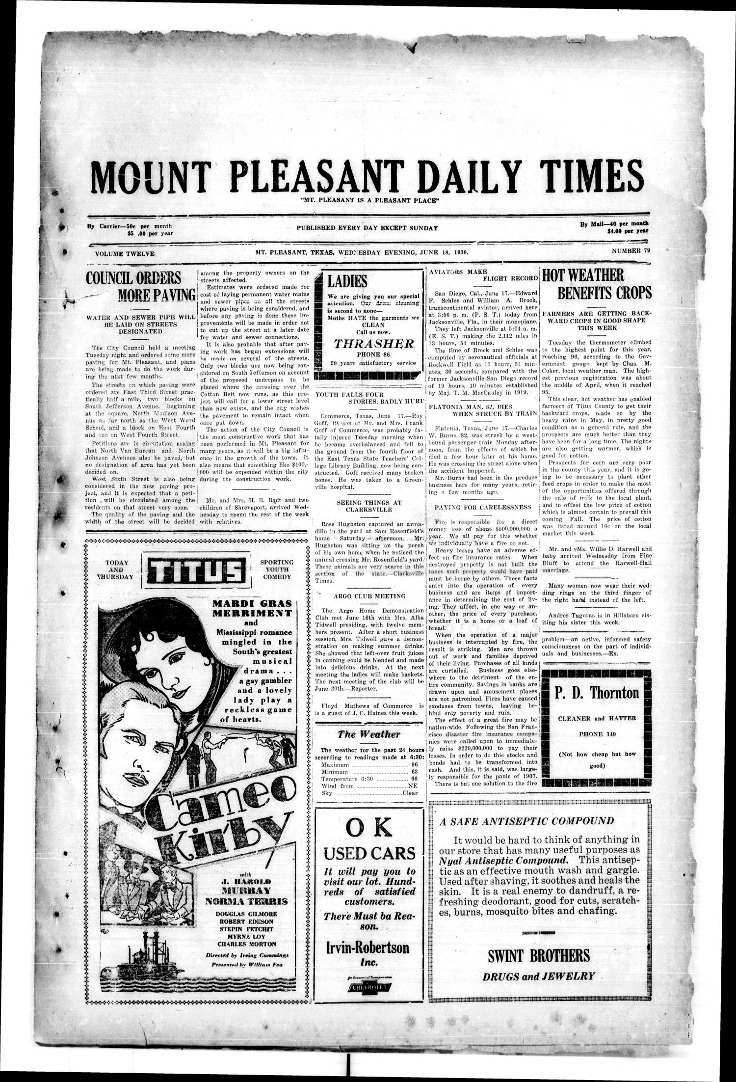 Mount Pleasant Daily Times (Mount Pleasant, Tex.), Vol. 12, No. 79, Ed. 1 Wednesday, June 18, 1930                                                                                                      [Sequence #]: 1 of 4