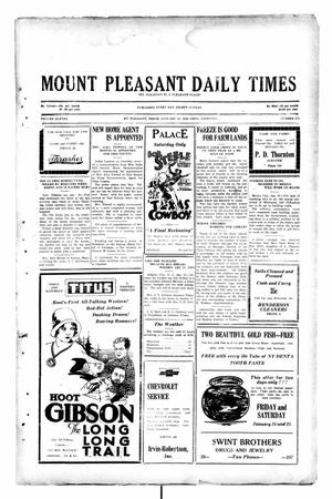 Primary view of object titled 'Mount Pleasant Daily Times (Mount Pleasant, Tex.), Vol. 11, No. 274, Ed. 1 Friday, January 24, 1930'.