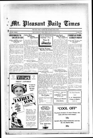 Primary view of object titled 'Mt. Pleasant Daily Times (Mount Pleasant, Tex.), Vol. 12, No. 130, Ed. 1 Friday, August 14, 1931'.