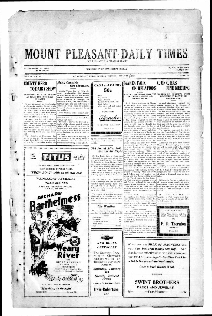 Primary view of object titled  Mount Pleasant Daily Times (Mount Pleasant 96d698fe82b