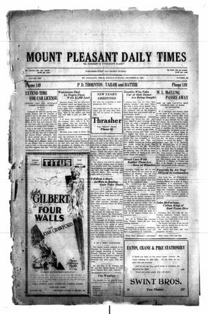 Primary view of object titled 'Mount Pleasant Daily Times (Mount Pleasant, Tex.), Vol. 10, No. 268, Ed. 1 Monday, December 31, 1928'.