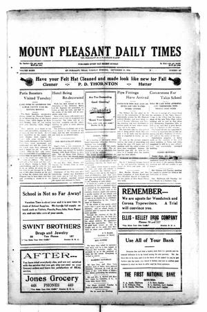 Primary view of object titled 'Mount Pleasant Daily Times (Mount Pleasant, Tex.), Vol. 8, No. 167, Ed. 1 Tuesday, September 21, 1926'.
