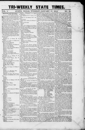Primary view of object titled 'Tri-Weekly State Times (Austin, Tex.), Vol. 1, No. 28, Ed. 1, Tuesday, January 17, 1854'.