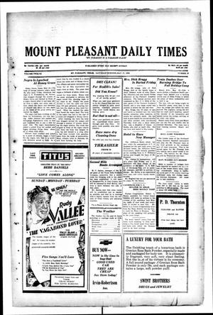 Primary view of object titled 'Mount Pleasant Daily Times (Mount Pleasant, Tex.), Vol. 12, No. 53, Ed. 1 Saturday, May 17, 1930'.