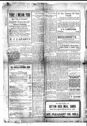 Primary view of object titled 'Mount Pleasant Daily Times (Mount Pleasant, Tex.), Vol. [9], No. [27], Ed. 1 Friday, April 8, 1927'.