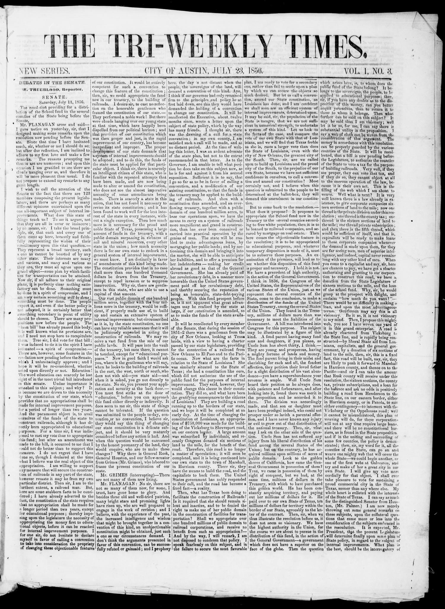Tri-Weekly State Times (Austin, Tex.), Vol. 1, No. 3, Ed. 1, Wednesday, July 23, 1856                                                                                                      [Sequence #]: 1 of 4