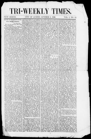 Primary view of object titled 'Tri-Weekly State Times (Austin, Tex.), Vol. 1, No. 32, Ed. 1, Friday, October 3, 1856'.