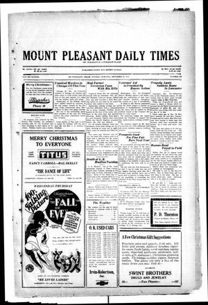 Primary view of object titled 'Mount Pleasant Daily Times (Mount Pleasant, Tex.), Vol. 11, No. 249, Ed. 1 Tuesday, December 24, 1929'.