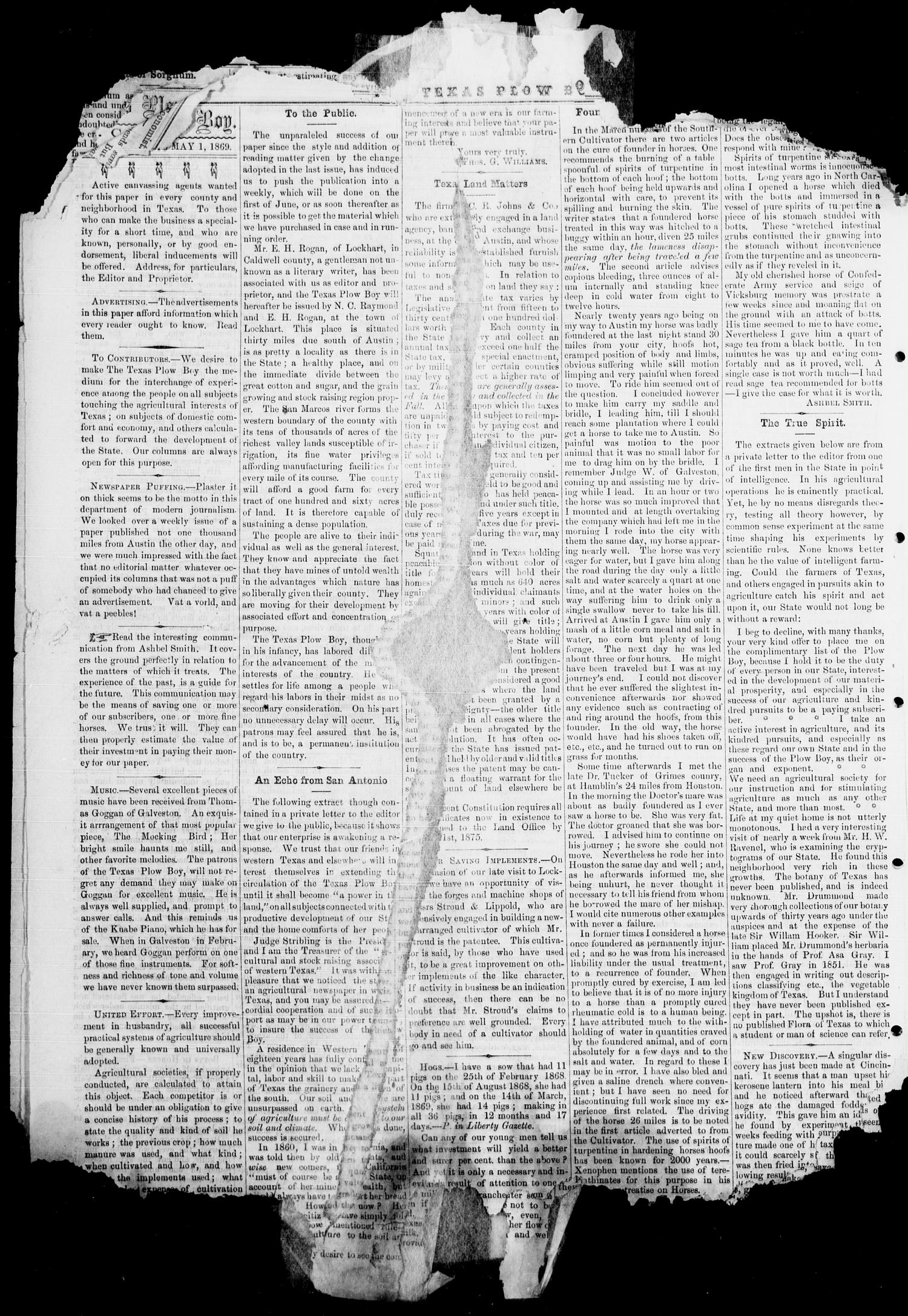 The Plow Boy (Austin, Tex.), Vol. 1, No. 5, Ed. 1, Saturday, May 1, 1869                                                                                                      [Sequence #]: 6 of 8