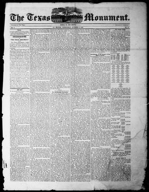 Primary view of The Texas Monument (La Grange, Tex.), Vol. 1, No. 11, Ed. 1, Wednesday, October 2, 1850