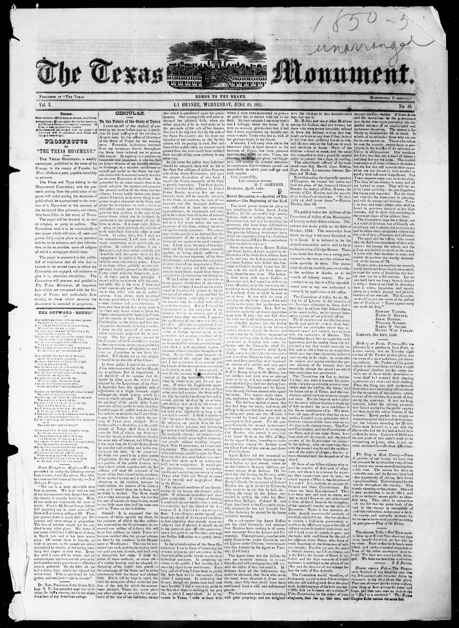 The Texas Monument (La Grange, Tex.), Vol. 1, No. 49, Ed. 1, Wednesday, June 25, 1851                                                                                                      [Sequence #]: 1 of 4