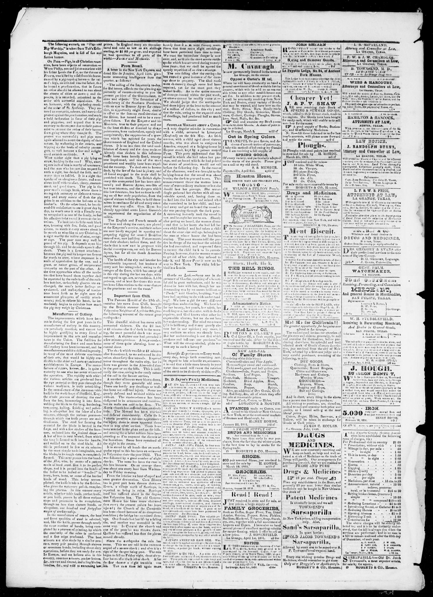 The Texas Monument (La Grange, Tex.), Vol. 1, No. 49, Ed. 1, Wednesday, June 25, 1851                                                                                                      [Sequence #]: 4 of 4